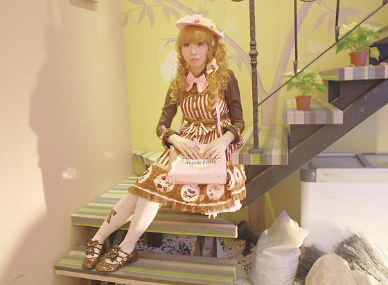 Zairai Chen - Angelic Pretty Rose Last Note Hat, Dreamvs Princess Frill Blouse, Angelic Pretty Melty Chocolate High Waist Jsk, Baby, The Stars Shine Bright Swing Princess Drop Comb, Angelic Pretty Melty Chocolate Shoulder Bag, Syrup Ribbon Jewel Case Tight, Dreamvs Brown Ribbon Shoes, Angelic Pretty Melty Chocolate Wrist Cuffs - Milk tea doll