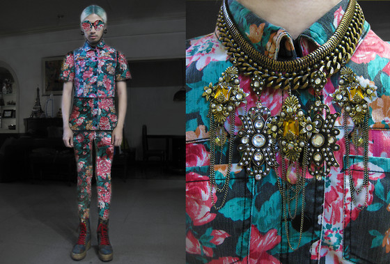 Andre Judd - Floral Vest, Shirt, Trousers, Diy Neckpiece, Diy Frames, Tapestry Boots - ELLIE GOULDING - ANYTHING COULD HAPPEN