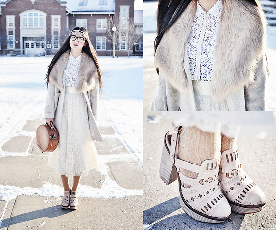 Elizabeth Jin - Vintage Lace Blouse, Vintage Lace Midi Skirt, Vintage Round Box Bag, Vintage Fur Collar Coat, Miista Ori Cut Out Shoes, Asos Hair Band - Snow White