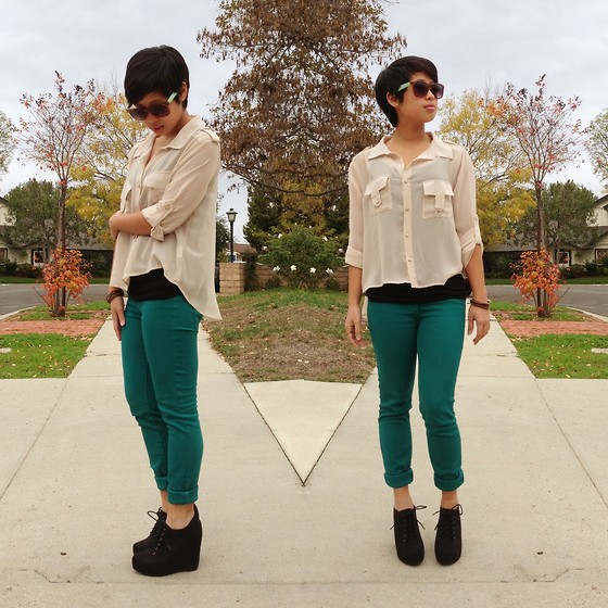 Sassy Cuna - Aldo Sea Green And Leopard Sunnies, Cotton On Top, Pacsun Teal Skinny Jeans, Black Poppy Lace Up Ankle Wedge - Holiday Weekend is Here