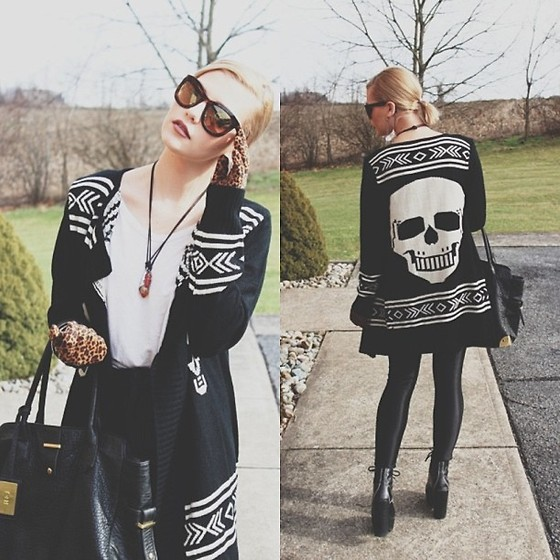 Samii Ryan - Skull Cardigan, Jeffrey Campbell Heels, American Apparel Pants, By Samii Ryan Ear Cuff, H&M Gloves, Nine West Sunglasses, R&J Bag - Dark Christmas Eve