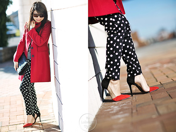Melanie Y - Banana Republic Red Coat, Chanel Bag, Warby Parker Sunnies, Forever 21 Polka Dot Pants, Zara Colorblock Pumps - Happy Holidays: Reds & Polka Dots
