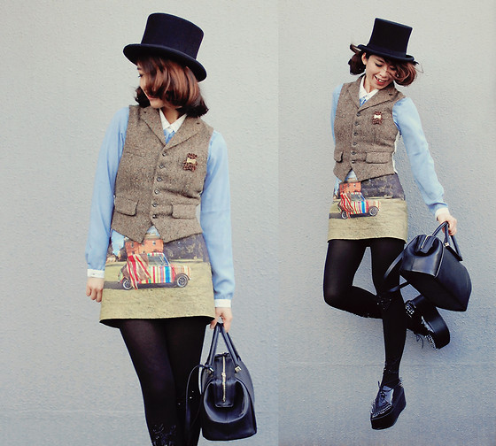 Shan Shan - Sheinside Blouse, Vintage Vest, Bebaroque Tights, Paul Smith Skirt - Have a fun Christmas