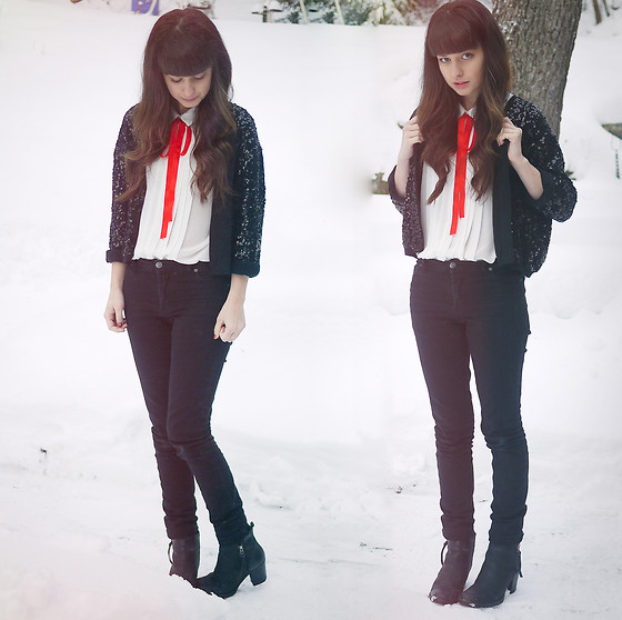 Ron S - Sequin Jacket/Cardigan, White Sleeveless Top, Diy Red Bowtie, Cheap Monday Black Jeans, Black Leather Boots - Sequins at Christmas