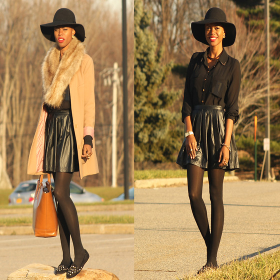 Rose L - Londo Rebel Spiked Slippers, Forever 21 Pleather Skirt, H&M Blazer, H&M Faux Fur Collar - Sweet Nothing