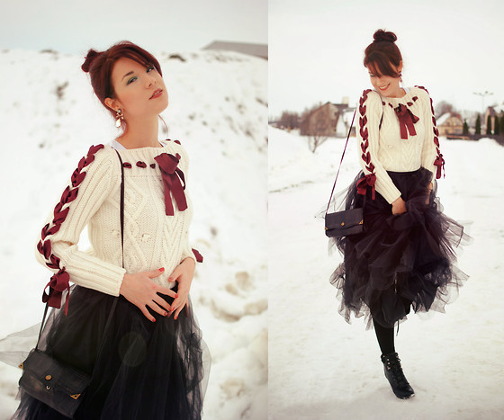Anaivilo B - Pimkie Ribbon Sweater, Self Made Tulle Skirt - Christmassy outfit