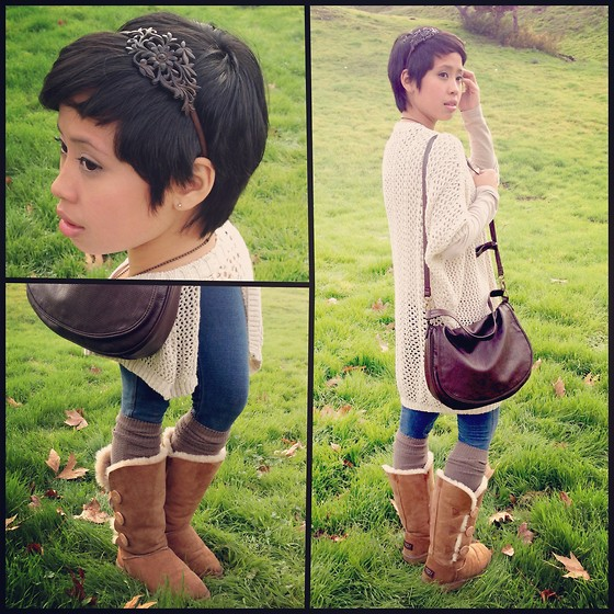 Sassy Cuna - Claire's Wooden Headband, Ugg Boots, Brandy Melville Usa Crochet Sweater - One With Nature