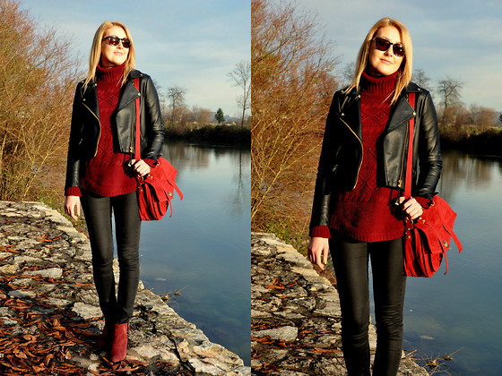 Sara Zgrzebniak - Mango Jacket, H&M Jumper, Vj Style Bag, Promod Boots, H&M Pants - Down on life