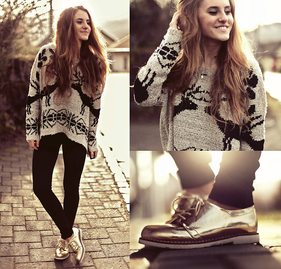 Jessica Christ - Ianywear Deer Sweater, C&A Gold Oxford Style Shoes - Don't stop me from dreaming