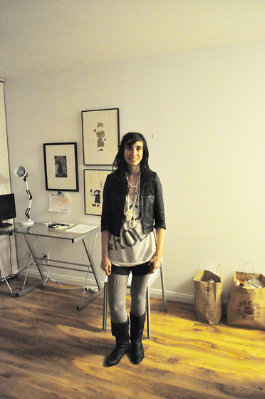 Liz E - Burberry Jacket, My Friend Made It T Shirt, The Sock Man Striped Stockings, Random Clearance Shop In Bushwick Boots - Work Clothes