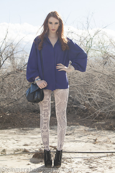 Haley G - Vintage Purple Blouse, Vintage Snake Skin Print Black Leather Purse - Snake in the Desert