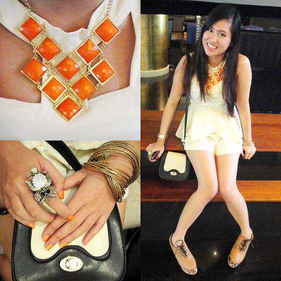 Fae Maaliw - Peplum Romper, Genevieve Gozum Sling Bag, Primadonna Leopard Booties, Orange & Gold Necklace - Shine Bright Like A Gold