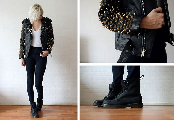 Sietske L - Coal 'N Terry Studded Leather Jacket, Dr. Martens Boots - Studs all over