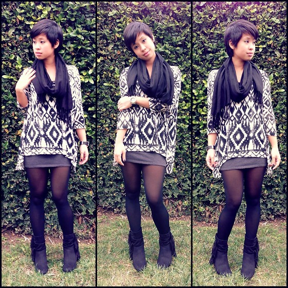 Sassy Cuna - H&M Black Scarf, Cotton On Aztec Printed Top, Ross Grey Skirt, American Eagle Black Hobo Booties - Aztec Prints & Hobo Kicks