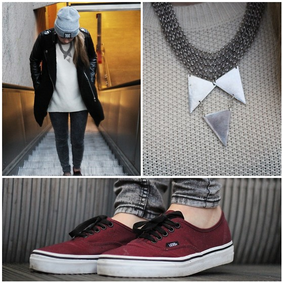 Herz über Kopf - 1989 Beanie, Urban Outfitters Necklace, Vans Authentic Burgundi - SIlver Grey
