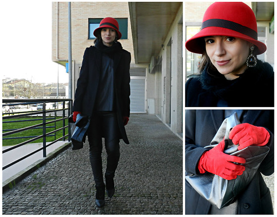 Helena Branquinho - Zara Sweater, Sfera Hat, In My Orange Clutch Bag, Stefanel Coat - Leather is my new religion!...