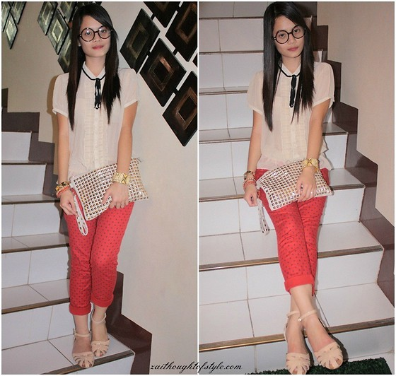 Zaira Chan - Forever 21 Chiffon Top (Old), Gap Trousers, Pinky Toes Sandals, Parisian Clutch - Nerdy for Rust