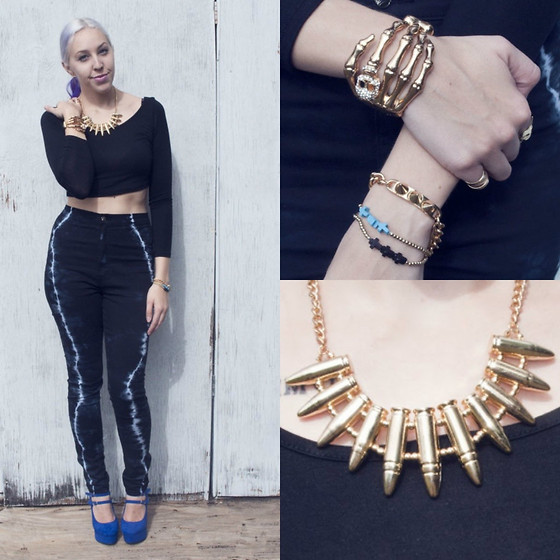 Ashleigh Anderson (Instagram@lunaxmarie) - Skeleton Cuff, Bracelets, Bullet Necklace, Lightning Jeans - Electric Feel