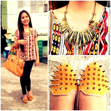 Lenylou Saballa - 168 Studded Yellow Shoes, Click & Shop Cute Neclace, Genuine Leather Yellow Bag - Simple outfit for christmas