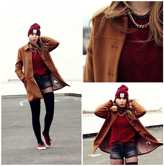 Herz über Kopf - H&M Coat, Gina Tricot Pullover, Asos Necklace - Brown vs. Burgundy