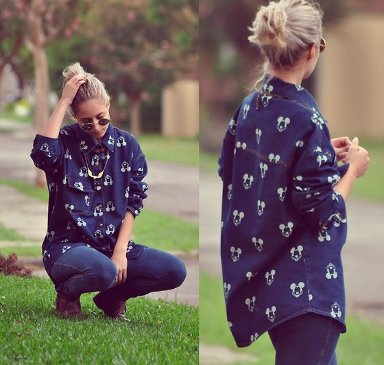 Julia Alcântara - Mickey Denim Blouse, Jegging, Boots, Heart Golden Neckalce, Braid Golden Necklace - Hey Mickey! l TUDOORNA . COM