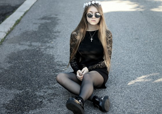 Helena Dewitt - H&M Black Lace Dress, Tuk Black Leather Creepers - THE FUTURE WILL BE CONFUSING
