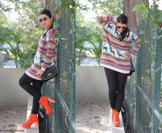 Shalini Chopra - Oasap Nordic Print Oversized Knitted Jumper, Oasap Lace Up High Heels With Suede Vamp - Feeling the Love...you in my life