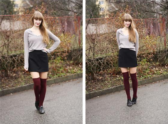 H\u0026M Over Knee Socks, Zara Sweater