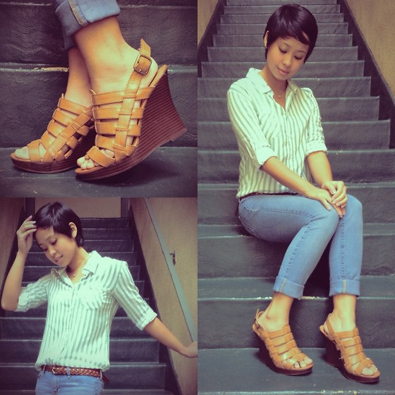 Sassy Cuna - Old Navy Brown Wedges, Greenhills Green Striped Top, Bullhead Jeans Faded - Simple Stripes