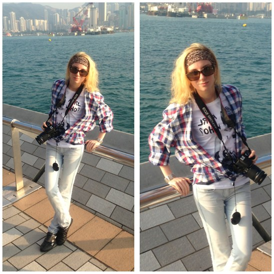 Lise Kapris - Shirt, Glasses, T Shirt, Jeans, Band - One day in Hong Kong
