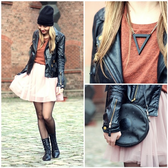 Herz über Kopf - Vanewonderland Necklace, Mcm Bag, H&M Dress, Zara Leatherjacket, Bianco Shoes - Triangle