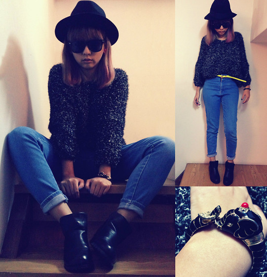 Zelia Su - Mom's Vintage High Waist Jeans, Taiwan's Eshop Mixed Hairy Sweater, Taiwan's Eshops Hat, Taiwan's Eshop Fluorescence Belt, China's Eshop Ankle Boots, Taiwan Elephant - Where is elephant?;)