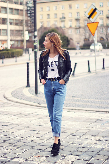 Karolina Gespucci - H&M Jacket, Misbehave T Shirt, Second Hand Pants - Nasty girl