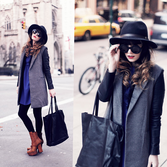 Rachel-Marie Iwanyszyn - Thrifted Hat, Wildfox Couture Twiggy Glasses, Choies Wool Coat, Choies Leather Bag, Acne Studios Pixel Boots, Zara Blue Dress, Http://Www.Jaglever.Com - NEW YORKER.