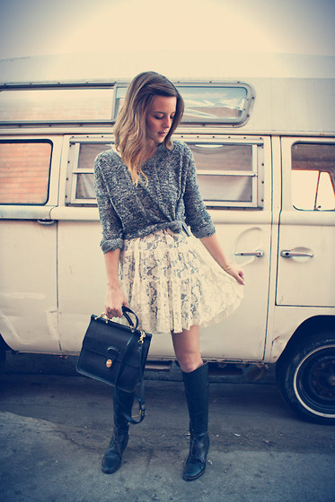 Michelle Madsen - Urban Outfitters Sweater, Free People Lace Dress, Thrifted Boots, Coach Bag - COTTON'S ROAD TO THE RUNWAY
