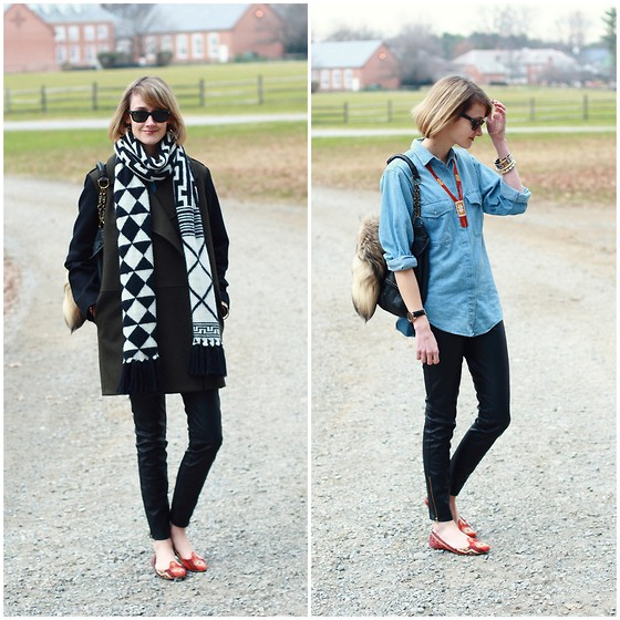 E Maille - Vintage Denim Shirt, Kmrii Bag, Mango Coat, Echo Scarf, Zara Pants, Belle By Sigerson Morrison Flats - Casually speaking