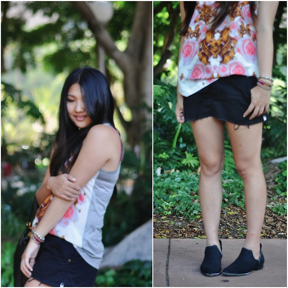 Karen - Josh Goot Flower Bomb Vest, One Teaspoon Denim Skirt, S E N O Boots - Flower bomb.