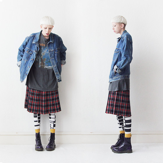 JENNY MUSTARD . - Wrangler Denim Jacket, Skirt, Sold Out! Piano Leggings, Mustard Socks, Dr. Martens Vegan Dr - The scientist.
