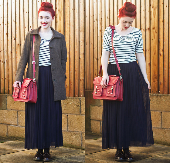 Megan McMinn - Oasap Striped Top, Love Pleated Skirt, Brand Village Satchel, H&M Coat, Dr. Martens Shoes - Casual Friday.