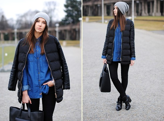 Patrycja R -  - QUILTED COAT + DENIM SHIRT