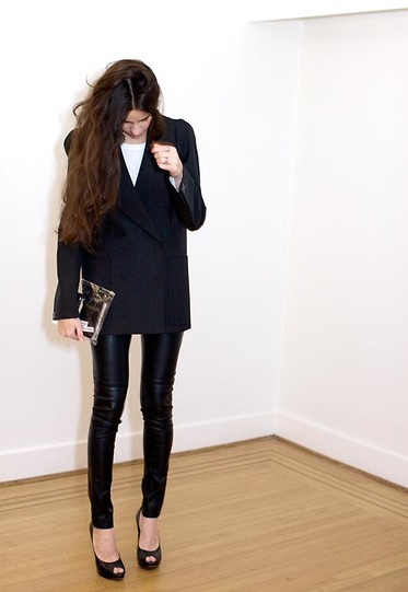 Melissa Araujo - H&M Blazer, Vintage Leather Pants, Christian Dior Heels - Margiela + Leather