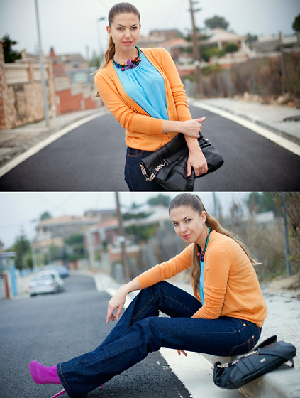 Kseniya B - Madison Marcus Top, Loro Piana Cardi, Anya Hindmarch Bag, Christian Louboutin Booties, Dsquared Jeans - The sky is blue, the sunset is orange