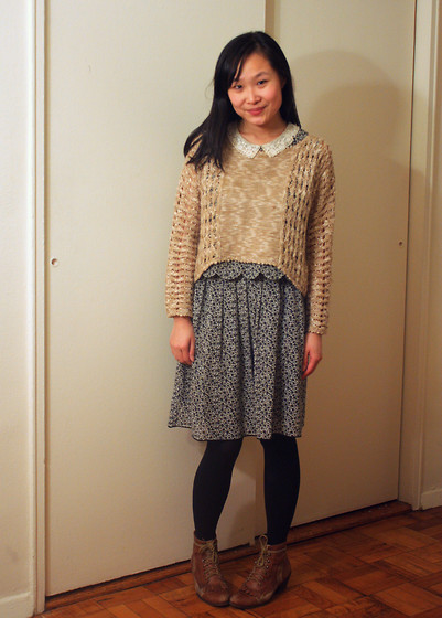 Mary G - Threadsence Cropped Sweater, Awoke Vintage Dress, Jeffrey Campbell Ankle Boots - Scallop Edges and Lace Collar