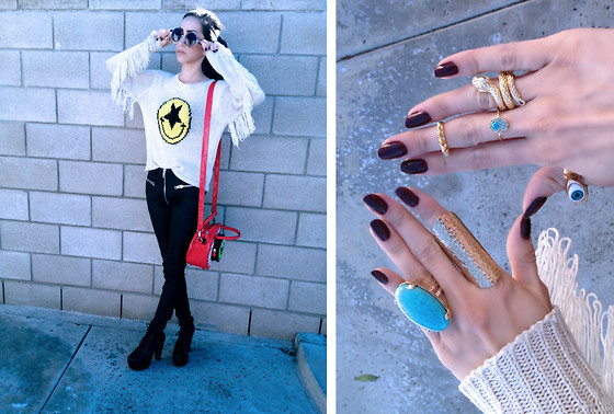 Linabugz . - Unif Evil Face Sweater, Kreepsville 666 Eyeball Handbag, Unif Axl Pants, Jeffrey Campbell Lita - With ears to see