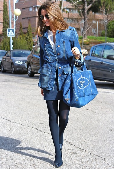 Silvia Garcia Blanco - Zara Jacket, Primark Blouse, Prada Bag, Petit Coucou Accessories Bracelets, Stradivarius Skirt, Calzados Gredos Shoes - Denim Jacket / Chaqueta Vaquera