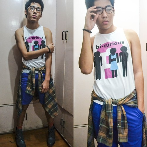 Dominic Cuerpo - Thrifted Shirt, Flannel Shirt, Shorts, Oxygen Socks, Wade Combat Boots, Mint Clear Glasses, Thrifted Skull Bracelet - Bisexual Tendencies