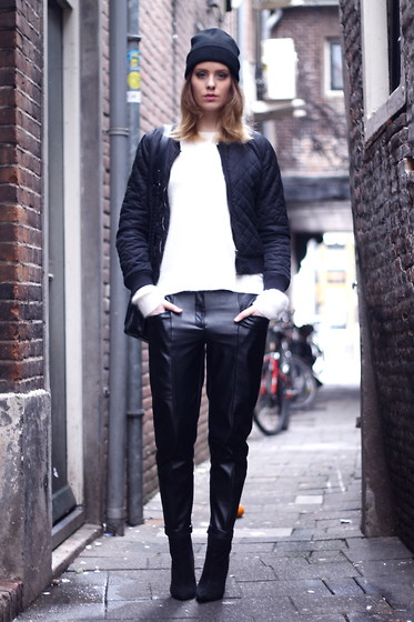 MODE ROSA - H&M Jacket, H&M Sweater, H&M Trousers, Zara Shoes - BLACK & WHITE