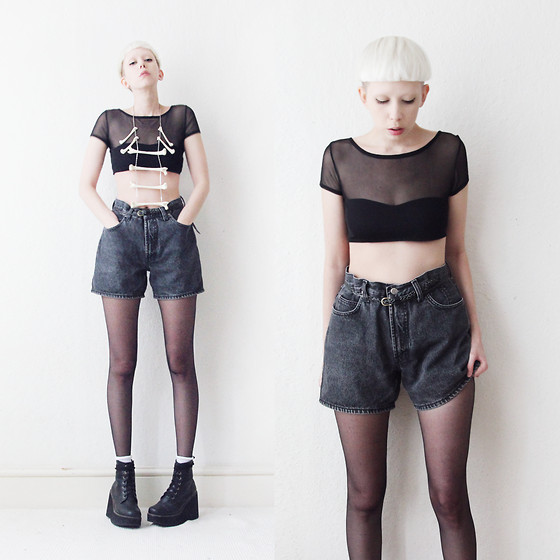JENNY MUSTARD . - Mesh Crop Top, Os Thigh Necklace, Denim Shorts, Socks - Go no more a-roving.