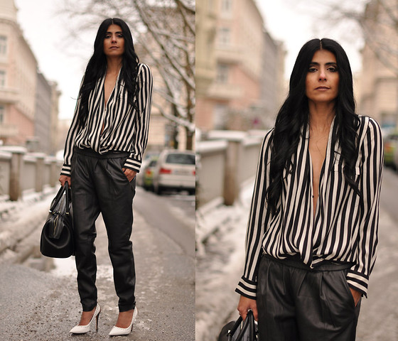 Maya Lorelei - Zara Shirt, Mango Baggy Leather Pants, Jw Anderson Heels, Zara Doctor's Bag - Striped