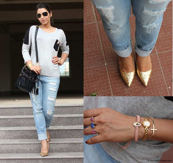 Shalini Chopra - Chicnova T Shirt In Contrast Colors, Ripped Boyfriend Jeans, Chicnova Golden Sequin Shoes - Fit to Ripped BoyFriend Denims